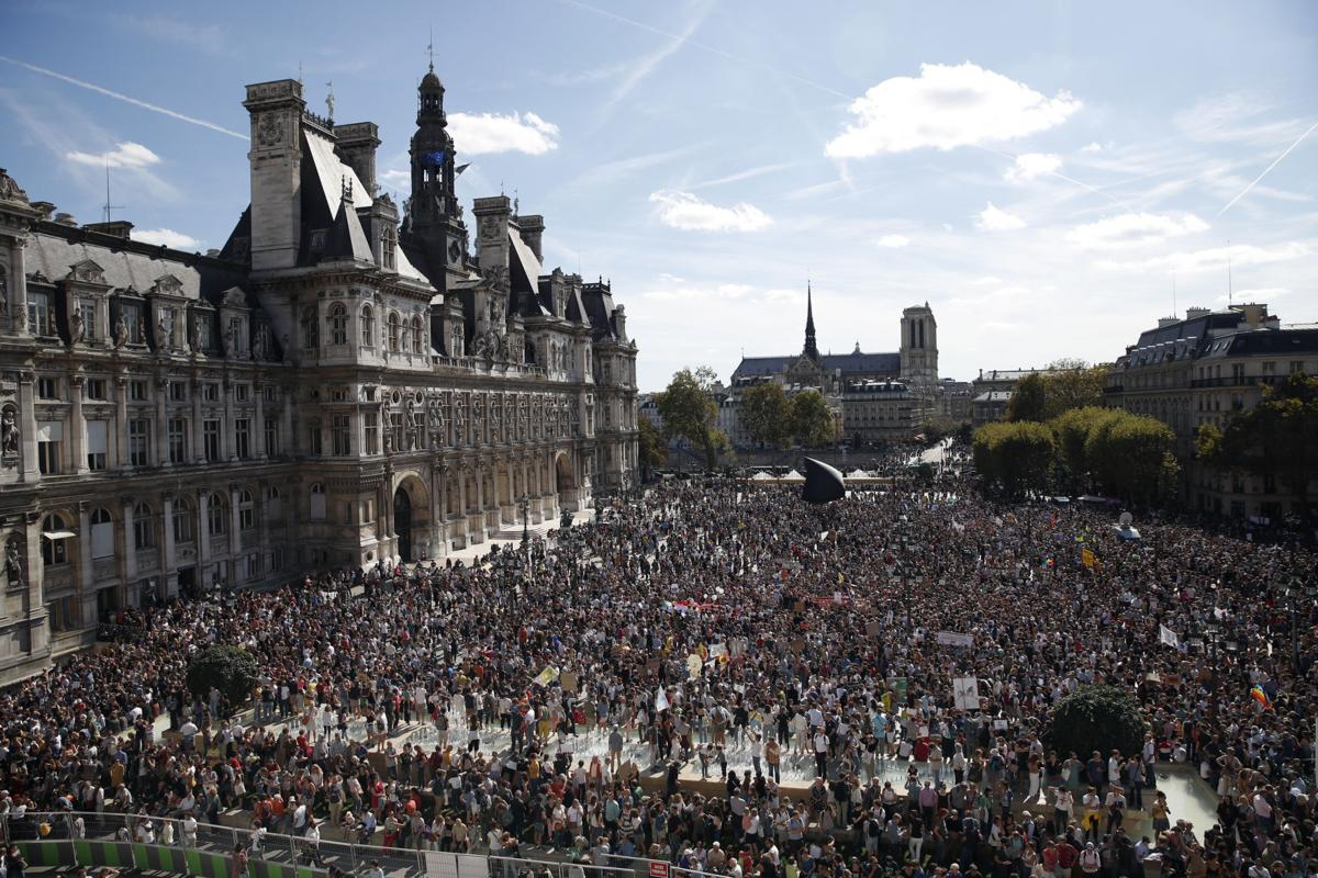 Paris town hall during a protest