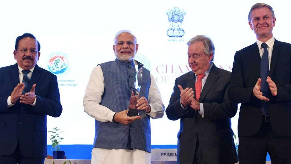 champions of the earth award Narendra modi