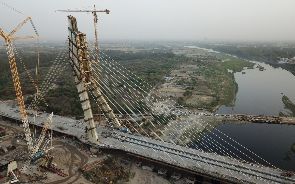 Signature Bridge construction debris choking Yamuna's flow