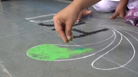 Rangoli drawn to prevent garbage dumping in the open