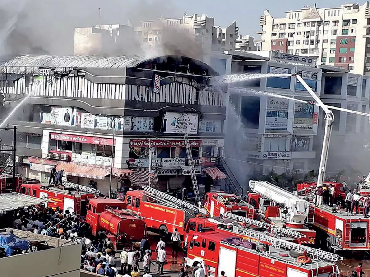 300 rescued after fire broke out in coaching center in Dwarka