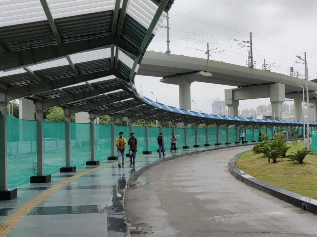 Walkway connecting aqua, blue lines open for public use