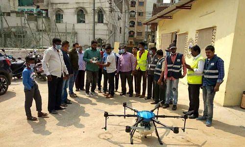 VMC begun using drones to spray disinfectants